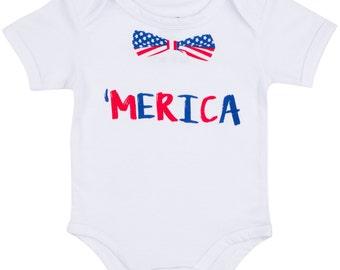 Funny Baby Gift | Merica Baby Onesie | Humorous America Clothes for Newborn