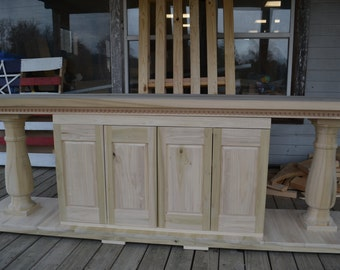 Unfinished Solid Poplar One Of Kind Four Door Media Console Beautiful Dentil Mold And Handcrafted Balustrade Legs