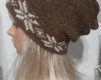 Alpaca Knit Slouch Hat, Suri Alpaca Slouch Hat, Natural Alpaca Hat, Snowflake Slouch Hat, Handmade Slouch Hat