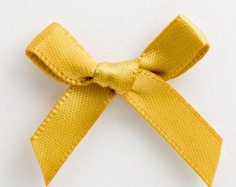 Satin Ribbon Pre Tied 3cm Bows - 100 Pack - 50 pack - 10 pack -  Gold