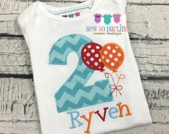 1st Birthday Boy Balloon Shirt - Red Orange Aqua Birthday Shirt - Balloon Birthday Outfit - Birthday shirt - first birthday outfit boy