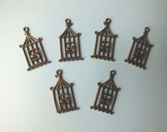 6 small Bronze Birdcage and Bird Charms