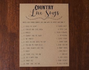 Bridal Shower Country Love Songs Game . Country Love Songs . Instant Download . Printable . Rustic, Bridal Shower Games, Country Bridal
