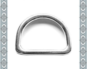 5 pieces D-rings 48 mm, silver-plated solid D-ring inner ring