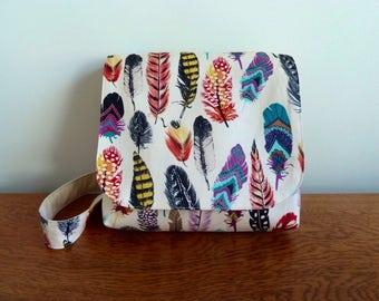 Children's Messenger Bag, Kids Messenger Bag, Girls Cross Body Bag, Colourful Feather Print