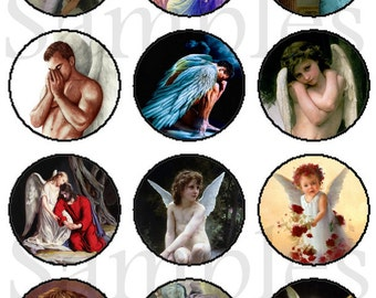 Angel Magnets Pins, Flat back Buttons, 12 ct