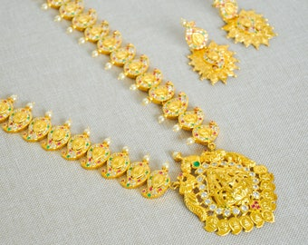 SALE 50% OFF -Gold Lakshmi temple gold plated haaram long necklace bandh | Indian gold Jewelry | south Indian bridal wedding jewellery