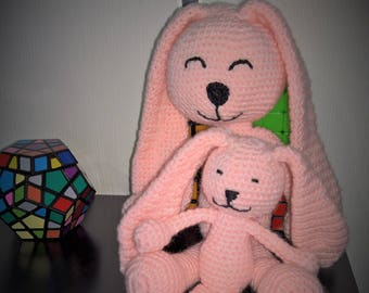 Rabbit and her little bunny crochet baby wool