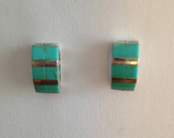 Sterling Turquoise Inlay Earrings