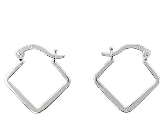 Sterling Silver Hinged Hoop Earrings/Flat Square High Polished/Every day Hoops/Small Sterling Silver Hoops/Medium Sterling Silver Hoops/Gift