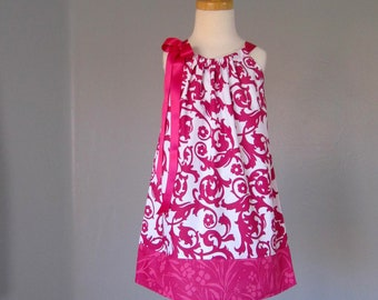 Little Girls Raspberry Pink Pillowcase Dress - Pink flowers and Vines on White - Girls Sun Dress - Size 12m, 18m, 2T, 3T, 4T, 5, 6, 8, or 10