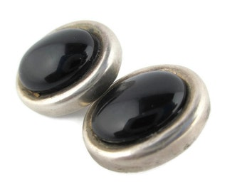Vintage Onyx Cabochon Sterling Silver 925 Clip Earrings  Mexico