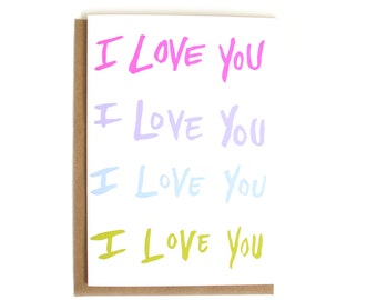 I Love You Valentine Card | Cute Romantic Card | Just Because | Anniversary Card | Simple Love Card