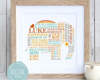 Printable File - First Birthday Baby Boy Print | Elephant Nursery  | Newborn Baby Gift | Personalised Christening Gift | 1st Birthday