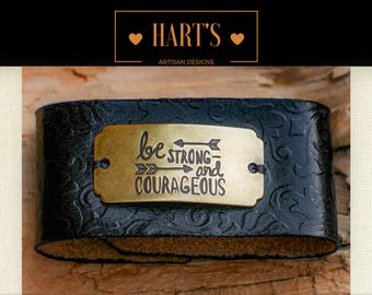 Courage Leather Cuff Bracelet