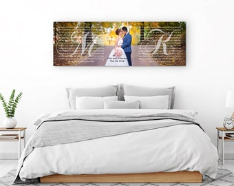 His And Hers Art, Vows On Canvas, Vows Keepsake, Initials His And Hers Print