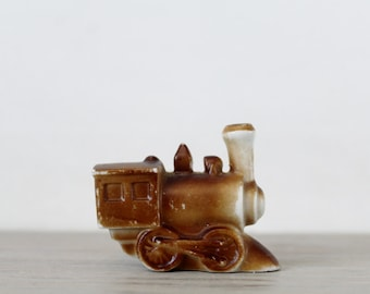 Vintage Ceramic Train Engine - Miniature Steam Engine - Vintage Child's Room Decor