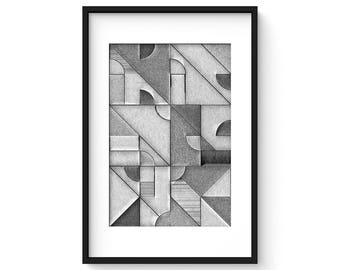 UNCOLORED No.3 - Giclee Print - Abstract Geometric Pencil Sketch Mid Century Modern