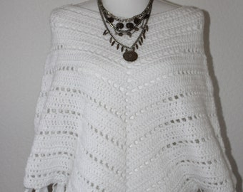Crocheted wool poncho