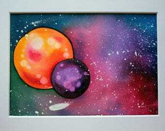 Galaxy I - watercolor and ink painting