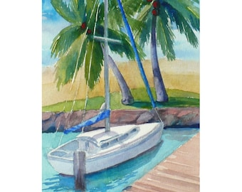 Hawaii original watercolor painting of Ilikai Marina, 7x5 tropical harbor art by Janet Zeh