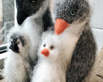 The penguin family needle felted toys