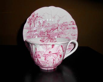 Shelley China Pink Surrey Scenery cup and saucer