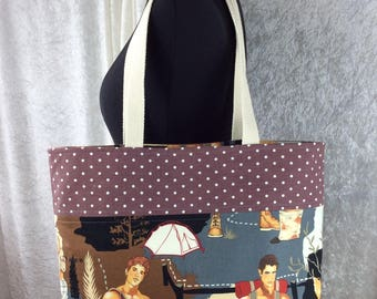 Handmade tote shoulder bag shopping day bag fabric shopper Alexander Henry Campers Hikers Outdoorsy