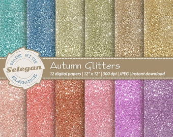Autumn Glitters, Digital Paper, Scrapbook, Paper, 12x12, Printable, Glitter, Lighting, Pattern, Blink, Texture,Sparkle,Winter,Background,