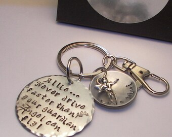 New driver, Sweet 16th birthday, Hand stamped jewelry, personalized, Don't drive faster than your guardian angel can, hand stamped keychain