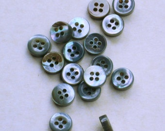 Grey Mother of Pearl Buttons. Set of 12. TRS14L#238/4H