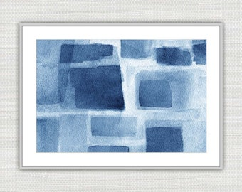 Abstract Art Print, Watercolor Expressionism, Indigo Wall Art, Instant Download from an Original Painting in Indigo, as seen on TV