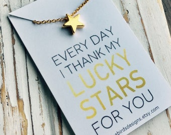 READY TO SHIP!  Teacher, Thank you, Appreciation Gift. Star Necklace.  Every day I thank my lucky stars for you.
