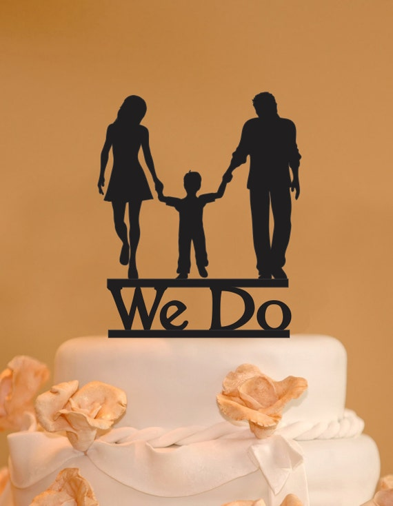 Man woman and child wedding cake topper family wedding cake