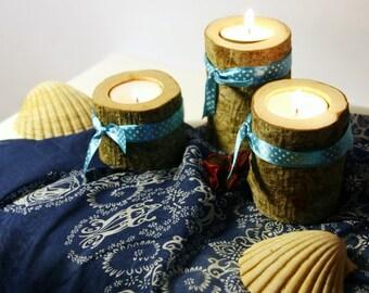 Woodland Baby Shower Decoration Decor, Woodland Baby Room, Wooden candle holder, Log candle holder, Wood tealight holder, Rustic decor,