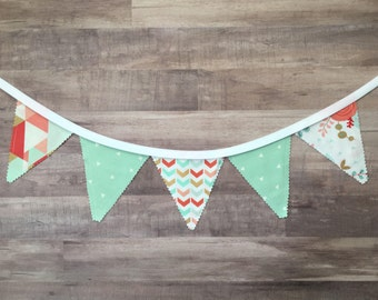 Unicorn Color Banner, Mint Bunting Banner, Mint Fabric Banner, Mint Fabric Flags
