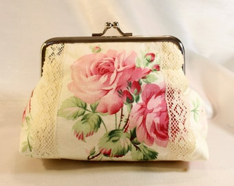 Makeup Bag Coin Purse  Vintage Floral Fabric  Lace Kisslock Frame