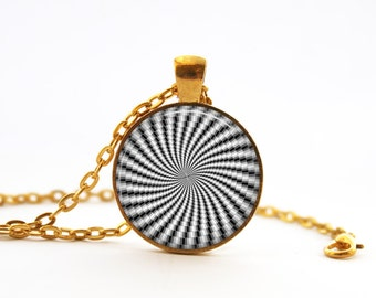 Hypnotic swirl etsy hypnotic swirl necklace circus white swirl necklace alice in wonderland necklace black and mozeypictures Choice Image
