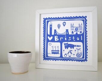 Bristol Screen Print in Cornflower Blue - Hand Printed Limited Edition