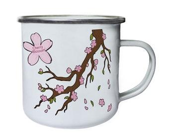 Cherry Blossom Tree Retro,Tin, Enamel 10oz Mug p189e