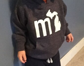 mi Soft Michigan Toddler Hoodie -- Blended State of Michigan Toddler hoodie