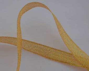 1 m width 10mm silver plated yellow organza satin ribbon