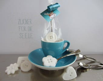 6 sugar, spoon with sugar, button, button, sugar cubes, sugar cubes, coffee, tea, wedding, give away, birthday,
