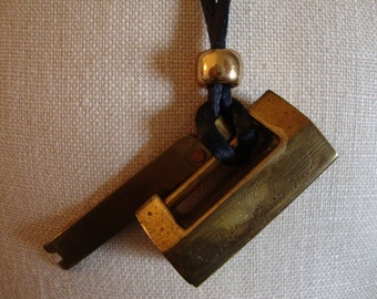 Chinese Lock Necklace, Brass, Vintage