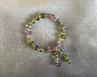 Amethyst Pebbles Olivine Beaded Memory Wire Bracelet with Dangles