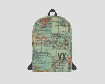 World map backpack etsy vintage map rucksack gumiabroncs Gallery