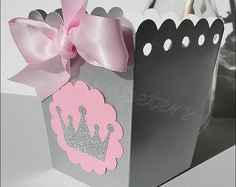 Pink Gold Princess Party Favors Popcorn Boxes Glitter
