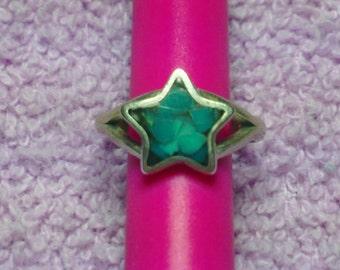 Vintage Sterling Silver Ring Star Pattern Turquoise (1960's)# VJ-0074