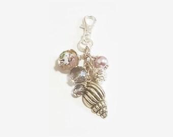 Lavender Seashell Purse Dangle / Zipper Pull Charm
