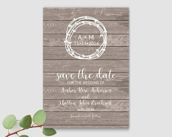 Save the Date Template, Rustic Save The Date, Save The Date Wedding Templates, Save The Date Card, Editable Save the Date PDF